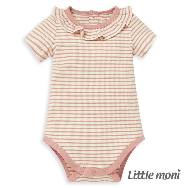 Littlemoni條紋荷葉領包屁衣-粉紅