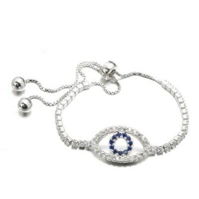 925純銀手鍊 鑲鑽手環 ~ 高檔天使之眼情人節生日 女飾品73dl53~ ~~米蘭 ~