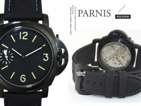 【完全計時】手錶館│PARNIS 瑞典軍錶風格 魅黑質感手動上鍊機械錶 PA3017 現貨 麂皮限定版