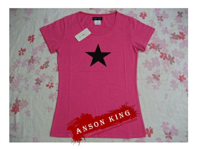 [Anson king]outlet國外代購 agnes b 星星 短袖 圓領 女款 T恤 粉 - 限時優惠好康折扣