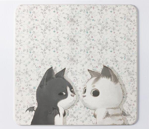 足吸珪藻土浴墊:【台灣製】杯吸彩繪(黑白貓)珪藻土杯墊~1片裝