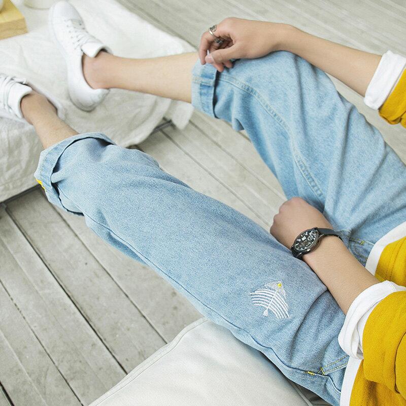 牛仔短褲男 夏季薄款男士牛仔短褲七分褲寬鬆直筒潮牌中褲韓版潮流八分褲子男b469