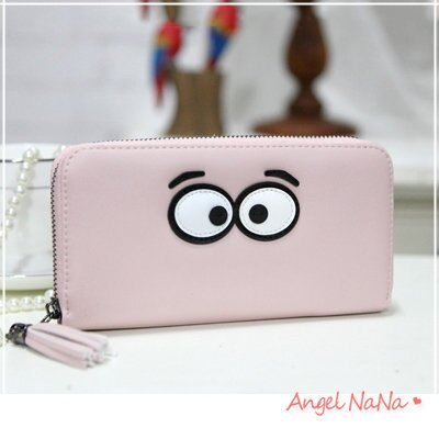 <br/><br/>  AngelNaNa 韓版皮夾。可愛大眼睛 流蘇 女長夾 手拿包【M161】<br/><br/>