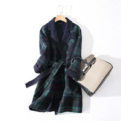 毛呢外套羊毛大衣-純色繫帶長版修身女外套5色73ty13【獨家進口】【米蘭精品】