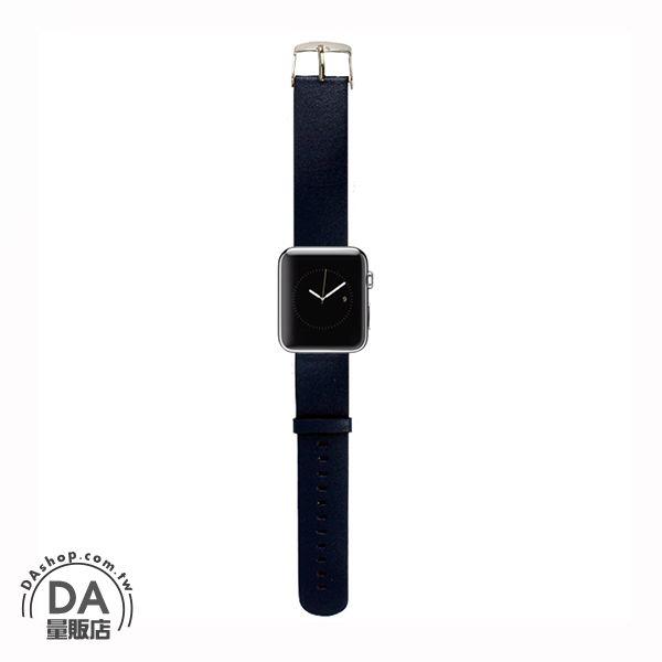 《DA量販店》Apple watch 皮質 錶帶 38mm 藍色 附工具(80-2054)