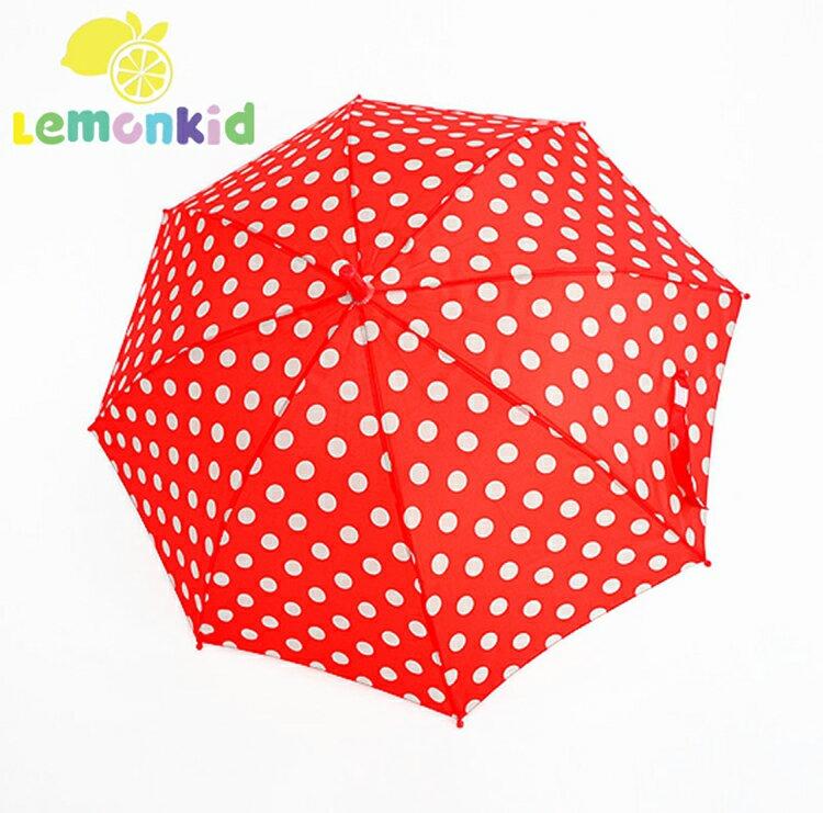 Lemonkid◆可愛波點公主款圓點直桿型雨傘-紅色圓點