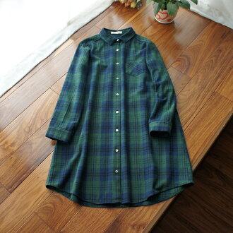 滿799再現折$100 [未央] 厚棉磨毛棉質格紋寬鬆襯衫(墨綠) - 御聖願