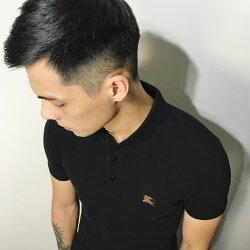美國百分百【全新真品】Burberry 短袖 polo衫 素面 金戰馬 logo 英倫 精品 黑色 S/M號 J698