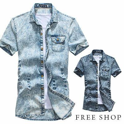 Free Shop【QMD50007】韓版型男必備雪花暈染刷破造型修身設計單寧短袖牛仔襯衫‧二色