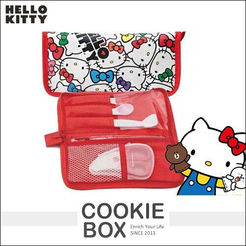 日本 kitty 餐具 收納袋 三麗鷗 凱蒂貓 攜帶式 收納包 餐具袋 野餐 湯匙 筷子 叉子 兒童 *餅乾盒子*