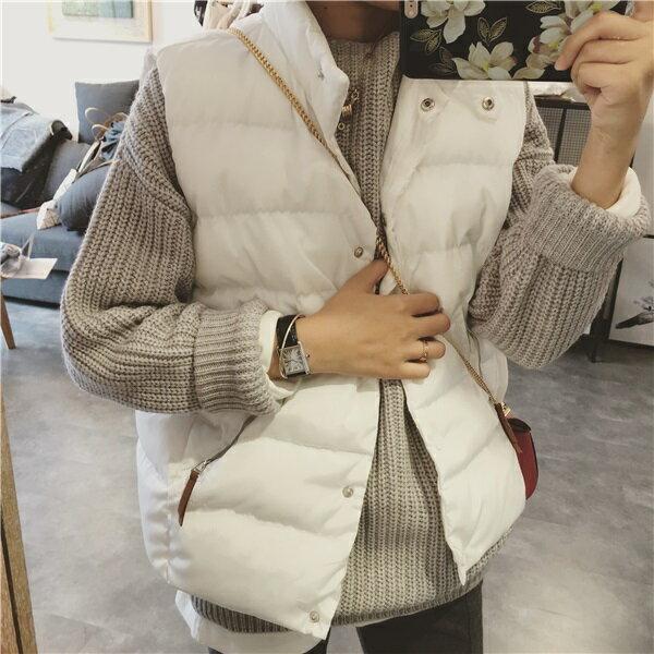 PS Mall 寬鬆立領棉衣無袖背心短款羽絨棉服馬甲外套~T4289~ ~  好康折扣