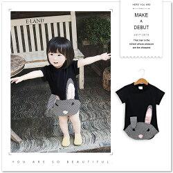 摩登摺耳兔格紋拼接短袖上衣 長版 T恤 女童 可愛 兔子 格子 格紋 拼布 拼接 短袖 小洋裝 棉質 圓領 哎北比童裝
