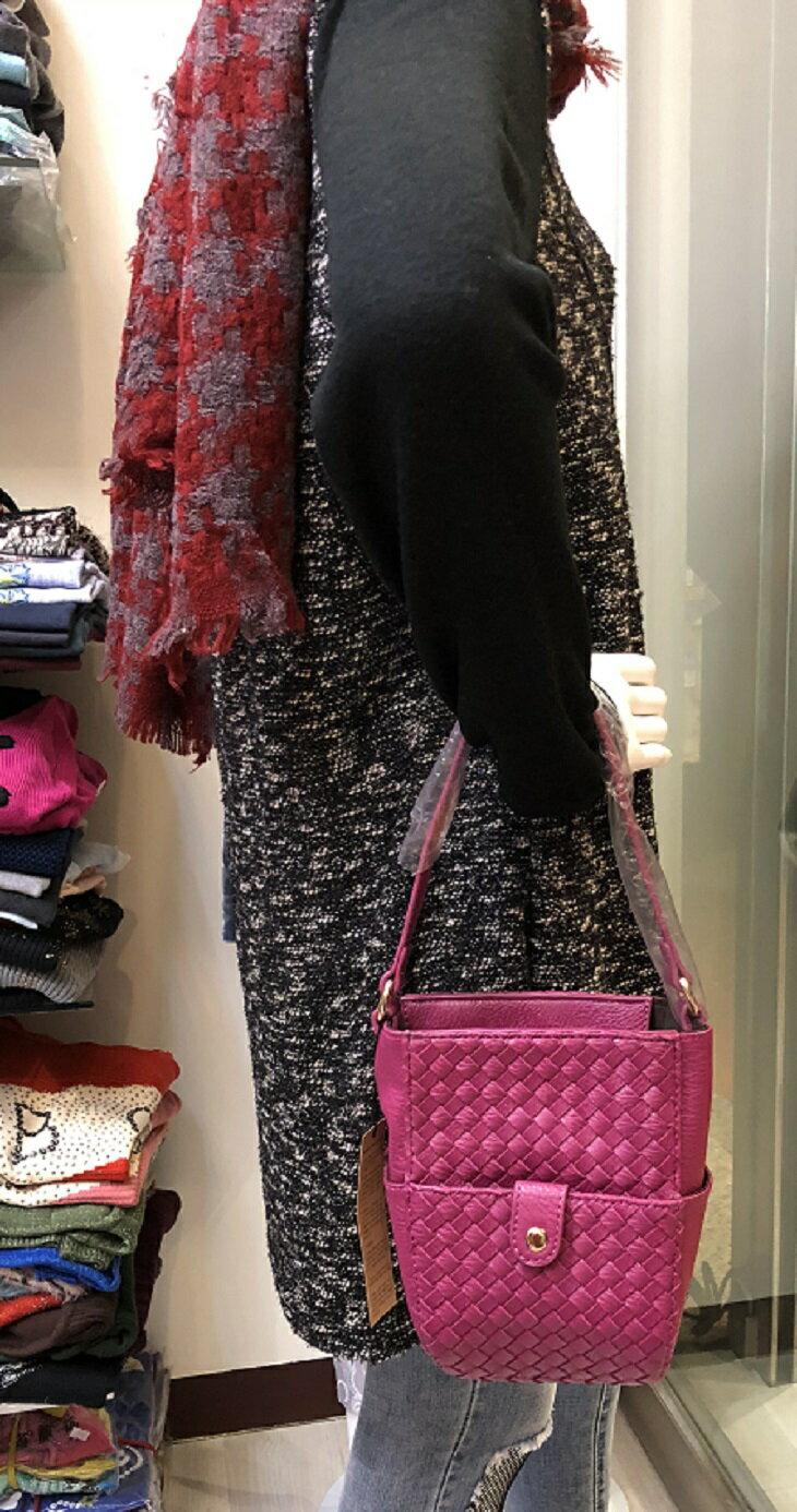 梅紅色 編織包 手提包 肩背包 側背包 斜背包 小包