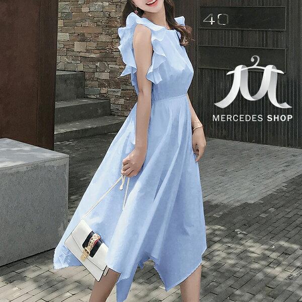 《全店75折》韓國小心機蝴蝶結露背不規則下擺連身裙無袖洋裝(S-XL,3色)-梅西蒂絲(現貨+預購)