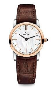 TITONI瑞士梅花錶纖薄系列TQ42918SRG-ST-587簡約金屬大理石紋時尚腕錶玫瑰金24mm