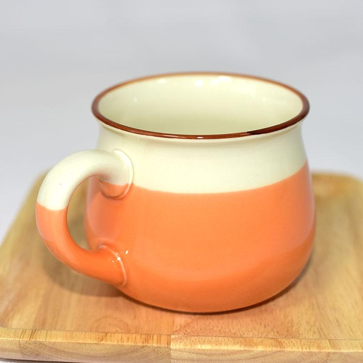 日本製 橙桔釉彩陶製 馬克杯 草庵萬寶窯 320ml