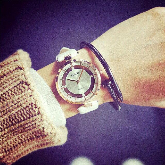 手錶男女學生韓版簡約潮流時尚休閒透明鏤空情侶皮帶非機械石英錶