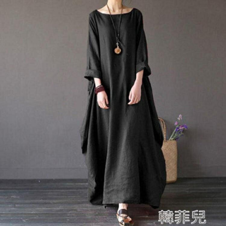 棉麻洋裝 棉麻連身裙女春秋新款民族風大碼女裝加長裙寬鬆文藝純色亞麻袍子 2021新款