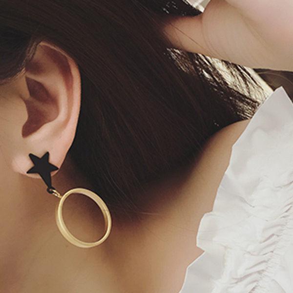 PS Mall 潮味混搭不對稱五角星 圓圈 氣質簡約耳釘耳環耳墜耳圈耳飾~G2118~ ~
