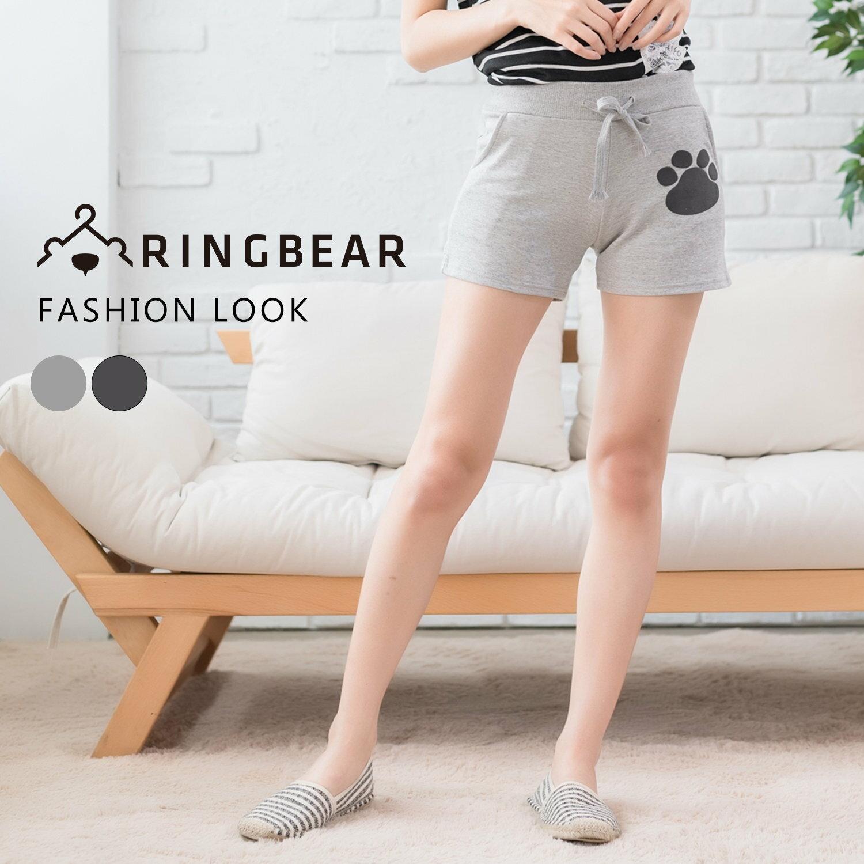 休閒褲--簡約俏皮前後口袋腳印鬆緊抽繩褲頭短褲(淺灰.深灰M-2L)-R142眼圈熊中大尺碼 0
