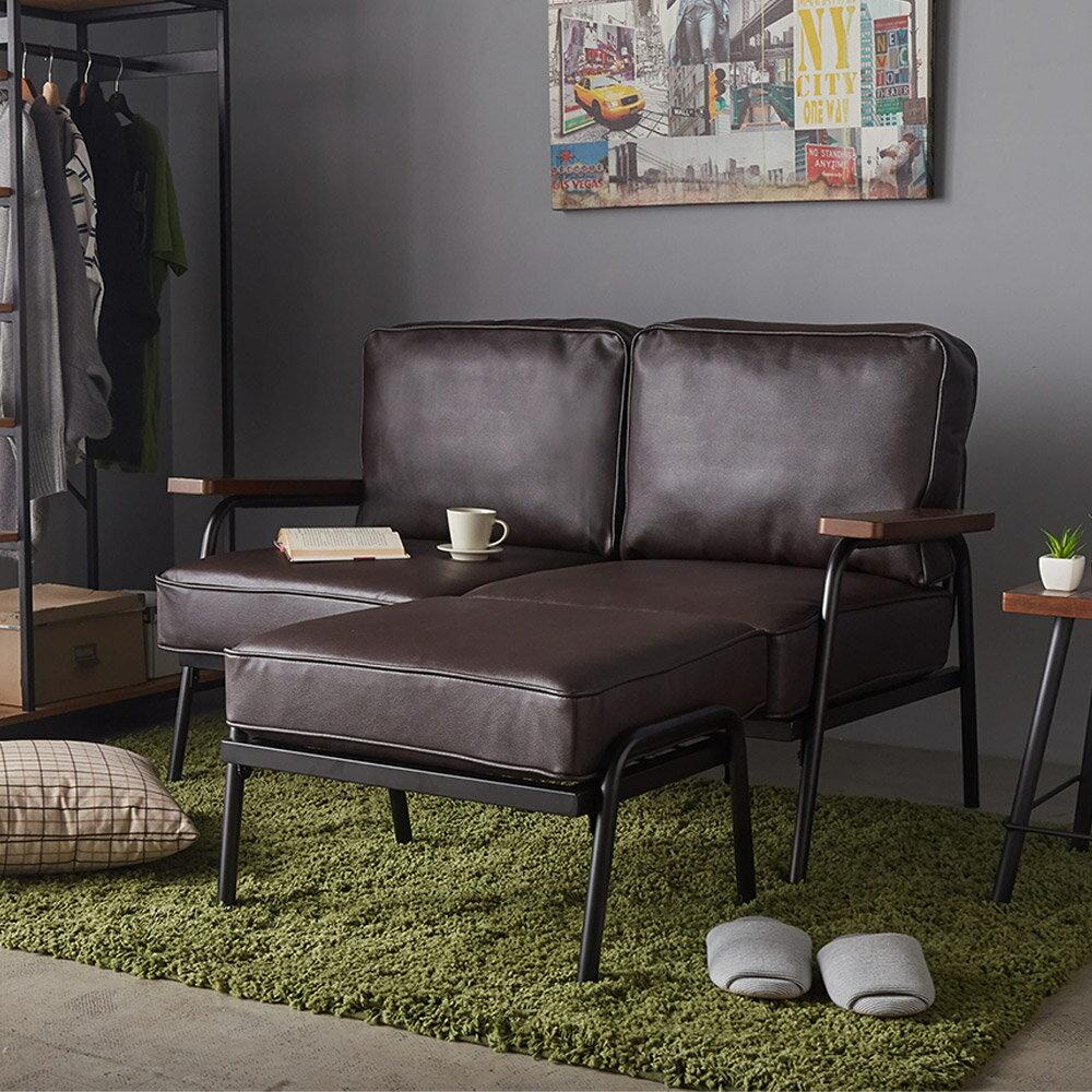 日式 推薦 Marico馬力克工業風鐵架L型沙發 / 雙人沙發+腳凳  /  H&D 7