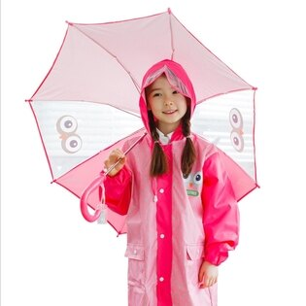Lemonkid:Kocotree◆兒童卡通貓頭鷹小眼睛直桿型雨傘