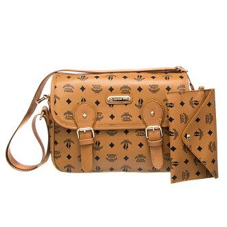 【XINWEI POLO】奢華LOGO風側背包附零錢包-723-棕