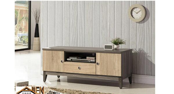 亞倫傢俱*艾思尼浮雕木紋4尺電視櫃