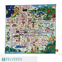 【MILU DESIGN】地圖手帕>>台北捷運吃喝玩樂-松山線
