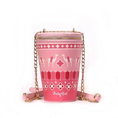 肩背包手拿鍊條包-可愛印花飲料杯造型女包包4色73fc457【獨家進口】【米蘭精品】 0