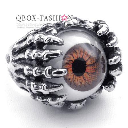 《QBOX》FASHION飾品【W10022873】精緻個性進化眼球鑄造316L鈦鋼戒指戒環(紅)