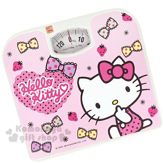 〔小禮堂〕Hello Kitty 體重計《粉.多點點蝴蝶結.咬手指》輕鬆維持身材