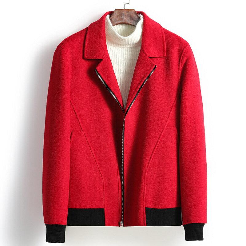 毛呢大衣短款夾克-翻領休閒修身羊毛男外套3色73wk33【獨家進口】【米蘭精品】 0