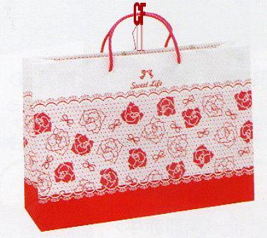 紙袋2K~20入~桃紅~蕾絲玫瑰~棉把手 pbag~017
