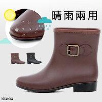 下雨天推薦雨靴/雨傘/雨衣推薦雨靴-韓系超防水簡約低跟短筒雨靴【011600047】-預購
