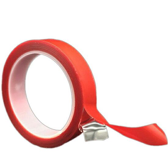 ♚MY COLOR♚ 透明壓克力雙面膠(30mm)  強力 防水 車用 膠帶 超黏 掛架 海報 紅膜透明 萬能貼 耐高溫 居家【P178】