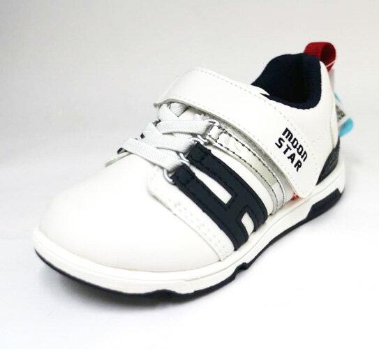 陽光運動館:Moonstar日本品牌機能運動鞋魔鬼氈舒適兒童皮鞋扁平足姆指外翻MSC21555(白皮藍邊)[陽光樂活]