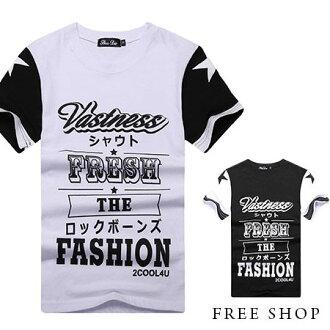 Free Shop【QR05100】美式休閒黑白剪裁文字造型印花圓領棉質短T短袖上衣潮T‧二色 MIT台灣製