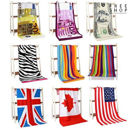 Free Shop 超細纖維英美加拿大國旗歐美元鈔票豹紋斑馬紋造型沙灘浴巾毛巾沙灘巾海灘巾【QAAKU7083】