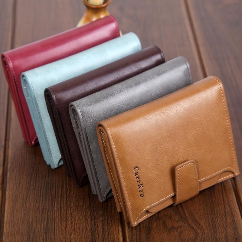 時尚商務休閑青年百搭男士短款扣子wallet大容量拉鏈油臘皮零錢包1入