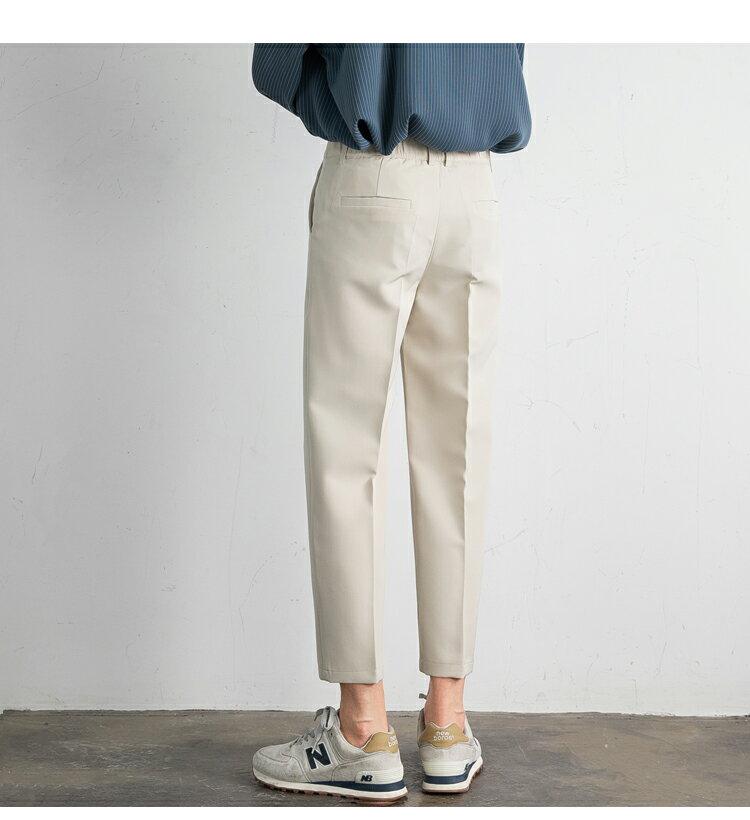 FINDSENSE X  男生西褲類目情侶垂感絲滑直筒西裝褲英倫寬鬆九分休閑褲