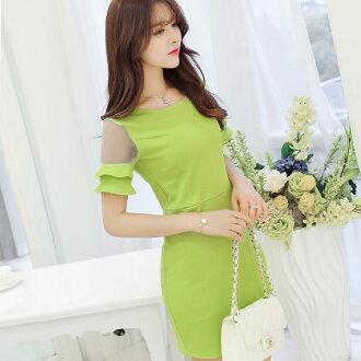 短袖洋裝【心齋橋】韓版新款修身高腰短袖拼接連身裙洋裝FAN1786(現+預)