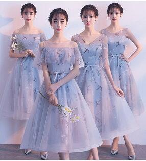 天使嫁衣【BL803】灰色剌繡點綴中長款顯瘦4款禮服˙預購訂製款