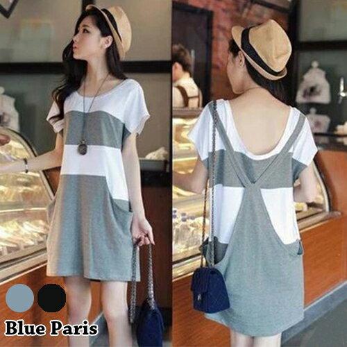 短洋裝 ~ 背後吊帶假兩件條紋口袋寬鬆短袖連衣裙~29116~藍色巴黎~2色~  ~  好