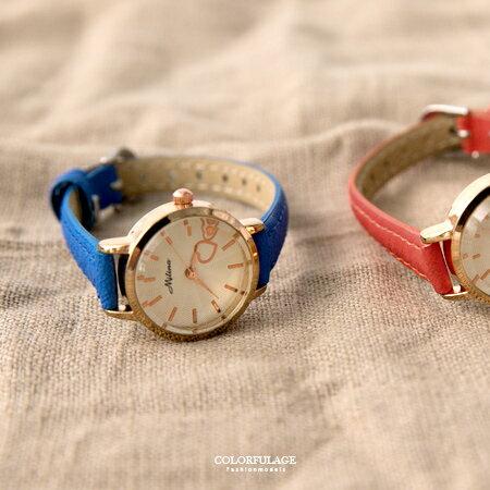 手錶 愛戀雙心玫瑰金精緻皮革腕錶 女孩清 重量輕巧無負擔 柒彩年代~NE1834~單支