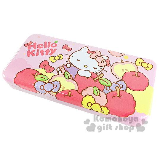 〔小禮堂〕Hello Kitty 鐵製雙層筆盒~粉.蘋果.蝴蝶結~增添學童學習樂趣