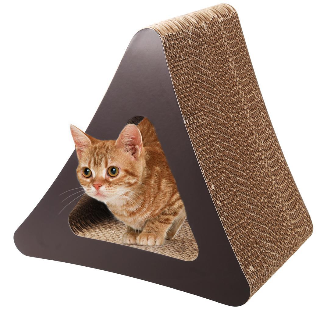 Cat Scratcher 3-Sided Vertical Corrugated Cardboard Cat Toy 0