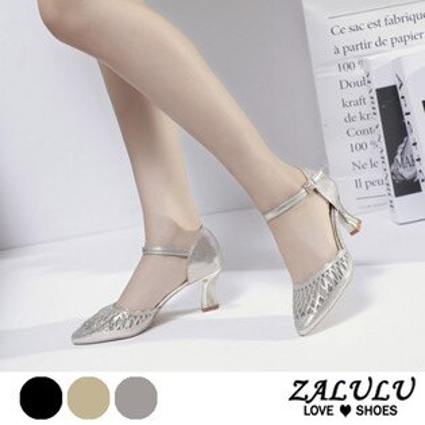 ZALULU愛鞋館7DE081預購PRARTY女王星蔥簍空高跟尖頭包鞋-黑金銀-35-40