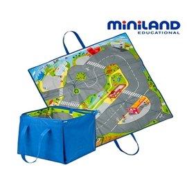 【淘氣寶寶】【西班牙 Miniland】2in1城市軌道遊戲墊/收納箱