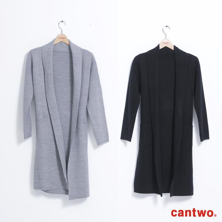 cantwo素色絲瓜領針織睡袍外套(共三色) 6